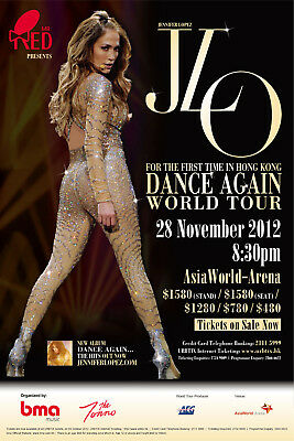 "JLO ""DANCE AGAIN WORLD TOUR"" 2012 HONG KONG CONCERT POSTER-R&B,Pop,Latin,Hip Hop"