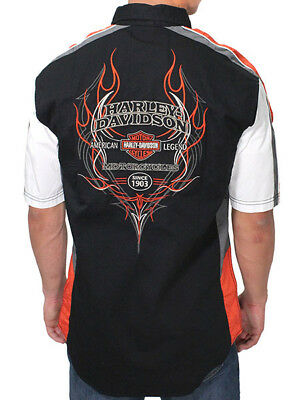 Harley-Davidson Mens Pinstripe Flames Performance Vented Button Shirt 99046-16VM