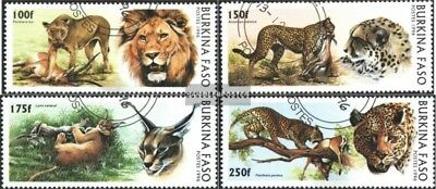 Burkina Faso 1437-1440 (complete.issue.) fine used / cancelled 1996 Big Cats