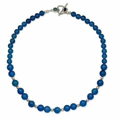 Ethnic Wear Blue Chalcedony Sterling Silver Overlay Necklace 17-18 Handmade Jewelry