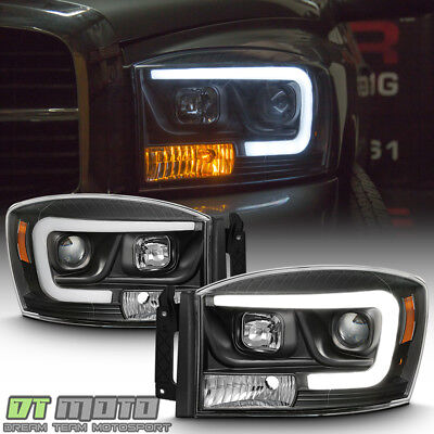 Black 2006 2008 Dodge Ram 1500 2500 3500 Led Projector Headlights Headlamps