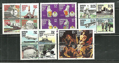 Barbuda 318A-D-322A-D Mnh Blocks Events And Anniversaries Scv 12.25