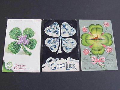 3 Four Leaf Clover Good Luck Greeting Postcards 2 postally used