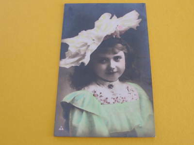 Young Girl with a Large Hat Glamour Hand Tinted Postcard