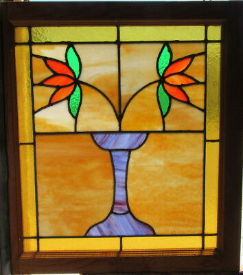 ~ Antique Stained Glass Window ~ 21 X 23 ~ 1 Of 2 ~ Architectural Salvage ~