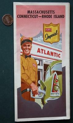 1950s Atlantic Oil Gas station Massachusetts-Connecticut and Rhode Island map!