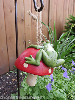 """frog FIGURINE 24 in. GARDEN STAKE WITH SAYING """"hop to it"""" yard ornament  froggie"""