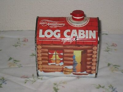 Vintage 1987 Log Cabin 100th Anniversary Syrup Tin