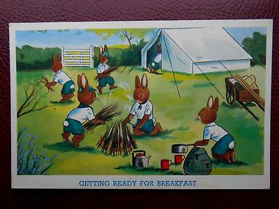 Anthropomorphic Boy Scout Rabbits Camping - Artist Drawn c1960s Standard Size