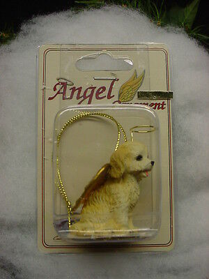 BLOND COCKAPOO dog ANGEL Ornament Resin Figurine NEW Christmas puppy COLLECTIBLE