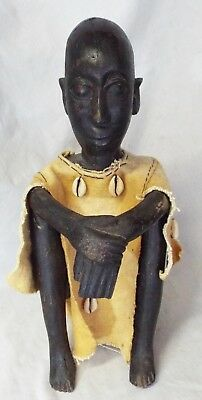 LARGE Antique AFRICAN ART CARVED WOODEN STATUE Handcrafted Folk Art