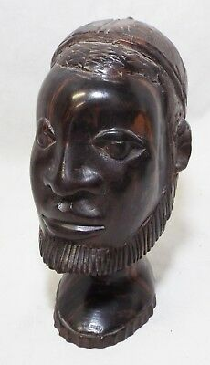 Old Antique AFRICAN ART Hand Crafted CARVED WOODEN BUST STATUE Folk Art