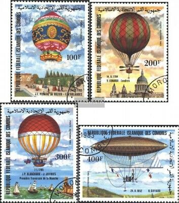 Comoros 681-684 (complete issue) used 1983 200 years Aviation