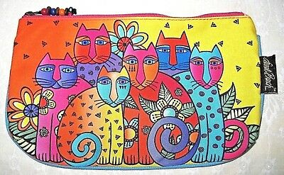 Laurel Burch Feline Colorful Zipper Case New