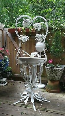 Midcentury White painted metal Bride's Floral Basket Lighted Fountain sculpture