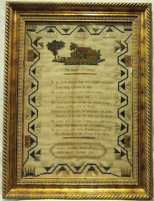 "Early 19Th Century ""the Happy Cottager"" Verse Sampler By Sophia Dowling - 1833"