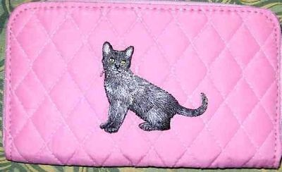 Belvah wallet BLACK CAT Pet Feline Quilted Fabric Zip Around Pink Ladies Wallet