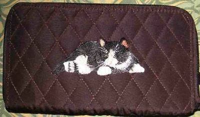 Belvah wallet BLACK/WHITE CAT Quilted Fabric Zip Around Brown Ladies Wallet