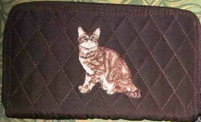 Belvah wallet TABBY BROWN CAT Quilted Fabric Zip Around Brown Ladies Wallet