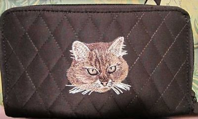 Belvah wallet BROWN TABBY CAT FACE Quilted Fabric Zip Around Brn Ladies Wallet