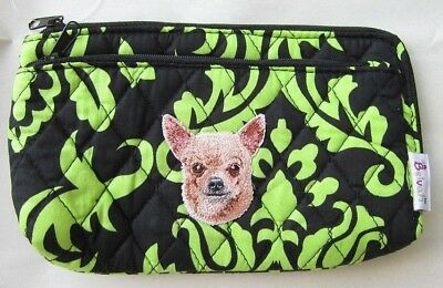 Quilted Fabric CHIHUAHUA Dog Breed Damask Pattern Zipper Pouch Cosmetic Bag