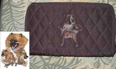 Belvah Quilted Fabric POMERANIAN Dog Breed Zip Around Brown Ladies Wallet