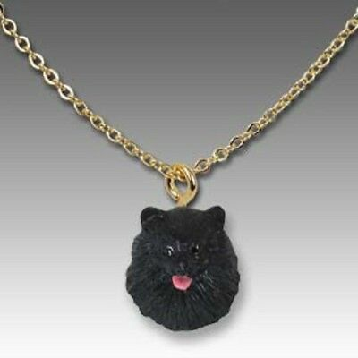 Dog on Chain POMERANIAN BLACK Resin Dog Head Necklace Jewelry Pendant