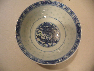 Vintage Chinese Blue&White Porcelain Grain Rice Hand Painted Dragon Bowl Signed!