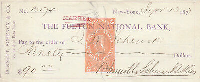 Antique Check New York 1873  With Revenue
