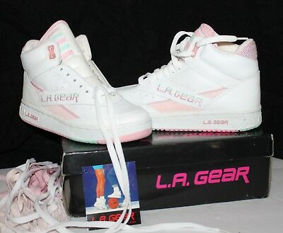 Rare Vintage NEW 80's 90's LA Gear High Top Pink White High Top Sneakers Size 7