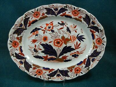 "Booths Dovedale A8044 Rust and Blue Imari 12 1/4"" Oval Serving Platter"