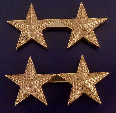 "2 stars 1"" CORRUGATED Gold Pair Collar Pins Rank Insignia Police Chief/Deputy"