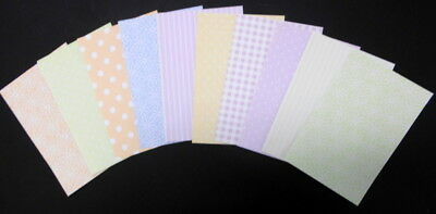"10 x PASTEL Patterned Scrapbooking/Cardmaking Papers -15cm x 10cm (6"" x 4"")"