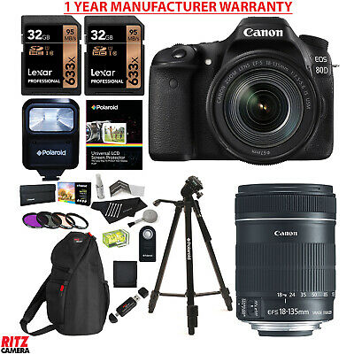 Canon EOS 80D DSLR Camera EF-S 18-135mm f/3.5-5.6 Lens + Manufacturer Warranty