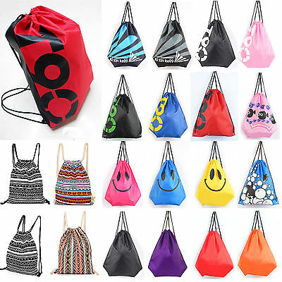 Outdoor School Drawstring Bag Sport Gym Sack Swim PE Book Shoes Sports Backpack
