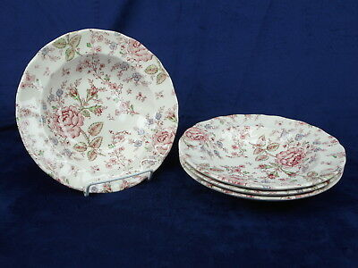 Lot 4 Johnsn Brothers Rose Chintz Made In England Wide Rimmed Soup Bowls