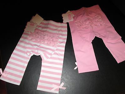 Mud Pie Light Pink Playground Shorties, Solid and Striped, 2T/3T, Set of 2, NWT