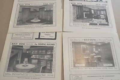 1916-19 RED GUM wood advertisements x4, wood panels, room interiors