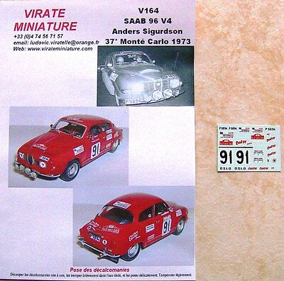 V037 ALPINE A110 11° RALLYE MONTE CARLO 1972 J.HENRY 1° GROUPE 3 DECALS VIRATE
