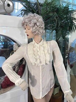 OFF WHITE VICTORIAN / EDWARDIAN STYLE BLOUSE, RUFFLES & LACE LUCKY BRAND size XS
