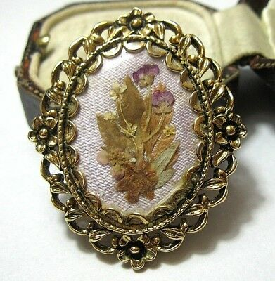 Vintage Jewellery Beautiful Dried Flowers Cameo Hinged SCARF CLIP Ring Brooch
