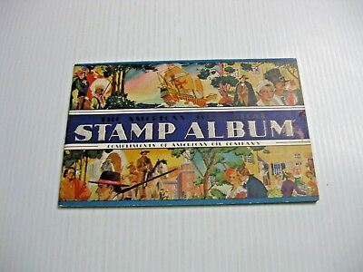 1937 American Oil Co. Historical Stamp Album Complete With 32 Stamps In Place