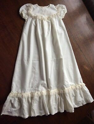 Vintage Christening Gown In Cream Polyester Fabric & Lace Trims Handmade