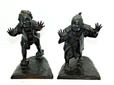 A Pair of Estate Antique Rare Bronze Japanese Figure Bookends - Signed