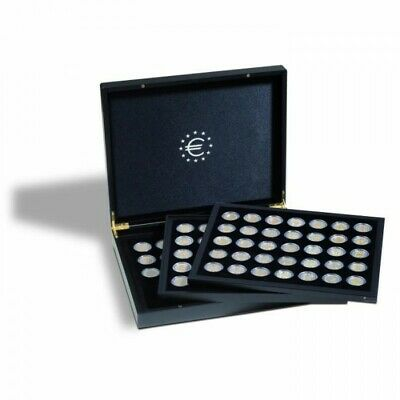 Presentation case with 3 trays, each for 35 2-euro coins in capsules, black