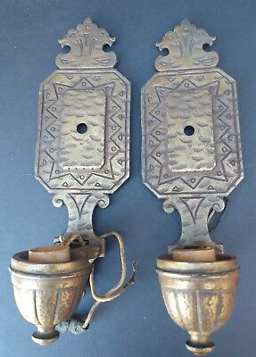 Pr of Arts and Crafts Cast Iron  Sconces, Copper Finish, Hammered look