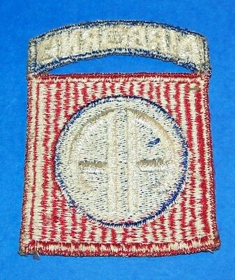 ORIGINAL CUT-EDGE WW2 82nd AIRBORNE DIVISION RIBBED WEAVE PATCH + ATTACHED TAB
