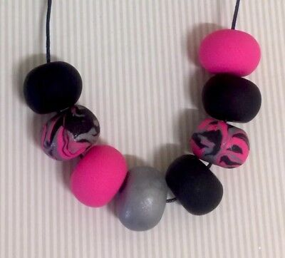 Handmade Polymer Clay Black Hot Pink Silver Bead Statement Necklace. NEW