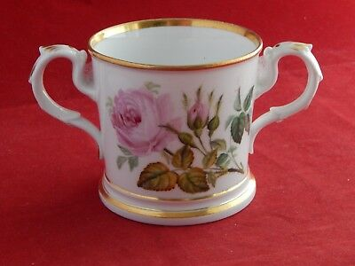 Antique English Porcelain Rose Painted Loving Cup