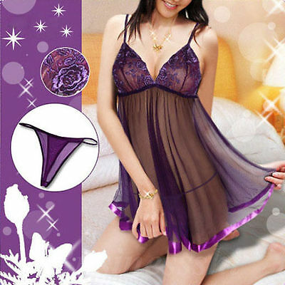 Purple Lingerie Babydoll Chemise Nightie Plus 6 8 10 12 14 16 18 20 22 24